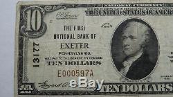 10 $ 1929 Exeter Pennsylvania Pa Banque Nationale Monnaie Note Bill # 13177 Vf