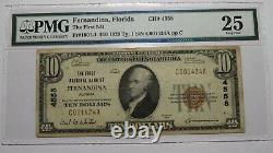 10 1929 Fernandina Florida Fl Monnaie Nationale Banque Note Bill Ch. #4558 Vf25