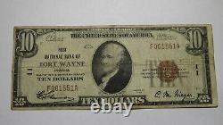 $10 1929 Fort Wayne Indiana In National Currency Bank Note Bill Ch. #11 Fine
