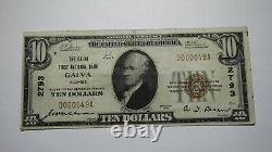 $10 1929 Galva Illinois IL National Currency Bank Note Bill Charter #2793 Vf+