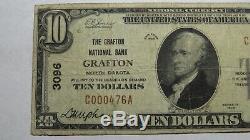 10 $ 1929 Grafton Dakota Du Nord Nd Banque Nationale Monnaie Note Bill Ch. # 3096 Fin