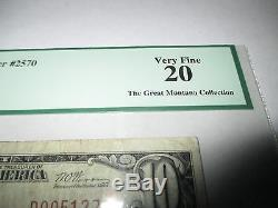 10 $ 1929 Grand Forks Dakota Du Nord Nd Note De Banque Nationale Bill Ch 2570 Vf