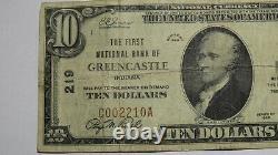 10 $ 1929 Greencastle Indiana En Monnaie Nationale Banque Note Bill! #219 Fine
