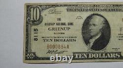 10 1929 Greenup Illinois IL Monnaie Nationale Note De Banque Bill Ch. #8115 Fine++