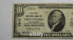 10 1929 Greenwood Mississippi Ms Monnaie Nationale Note Banque Bill Ch. N°7216 Vf+