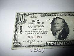 $ 10 1929 Gunnison Colorado Co Banque Nationale De Devises Note Bill Ch. # 2686 Vf