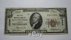 10 $ 1929 Guntersville Alabama Al Monnaie Nationale De Billets De Banque Bill Ch. # 10990 Vf +