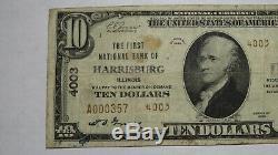 10 $ 1929 Harrisburg Illinois IL Banque Nationale Monnaie Note Bill! Ch. # 4003 Rare