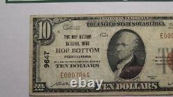 10 $ 1929 Hop Bottom Pennsylvanie Pa Banque Nationale Monnaie Note Bill Ch. # 9647