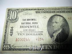 10 $ 1929 Hopewell New Jersey Nj Note De La Banque Monétaire Nationale Bill! # 4254 Rare