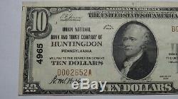 10 $ 1929 Huntingdon Pennsylvania Pa Banque Nationale Monnaie Note Bill # 4965 Vf