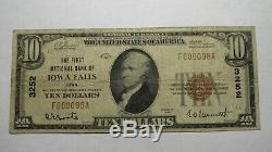 10 $ 1929 Iowa Falls Iowa Ia Banque Nationale Monnaie Note Bill! Charte # 3252 Rare
