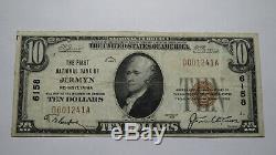 10 $ 1929 Jermyn Pennsylvania Pa Banque Nationale Monnaie Note Bill # 6158 Vf