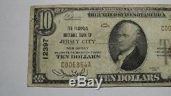10 $ 1929 Jersey City New Jersey Nj Banque Nationale Monnaie Note Bill # 12397 Fin