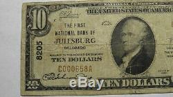 10 $ 1929 Julesburg Colorado Co Banque Nationale Monnaie Note Bill! Ch. # 8205 Fin