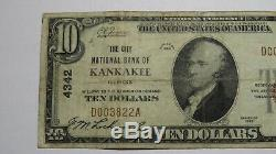 10 $ 1929 Kankakee Illinois IL Banque Nationale Monnaie Note Bill Ch. # 4342 Fin