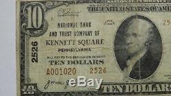 10 $ 1929 Kennett Square Pennsylvania Pa Banque Nationale Monnaie Notez Le Projet De Loi # 2526