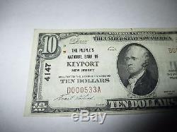10 $ 1929 Keyport New Jersey Nj Note De La Banque Nationale De Billets Bill Ch. # 4147 Vf ++