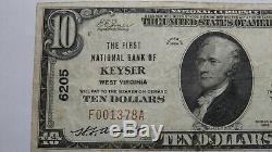 10 $ 1929 Keyser Virginie Occidentale Virginie-occidentale Banque Nationale Monnaie Note Bill Ch. # 6205 Vf