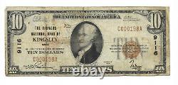 10 $. 1929 Kingsley, Iowa National Currency Bank Note Bill Ch. #9116