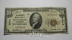 $10 1929 Kittanning Pennsylvania Ap National Monnaie Banque Note Bill #5073 Fine