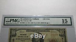 10 $ 1929 Knightstown Indiana National Bank Monnaie Notez Bill Ch. # 9152 Pmg