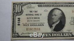 10 $ 1929 Letcher Banque Nationale Du Dakota Du Sud Sd Monnaie Remarque Bill Ch. # 9188 Xf +