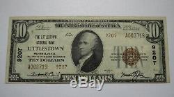 10 $ 1929 Littlestown Pennsylvania Pa Banque Nationale Monnaie Note Bill # 9207 Vf ++