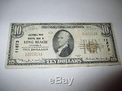 10 $ 1929 Long Beach Californie Ca Note De La Banque Nationale De Billets Bill No 11873 Fine