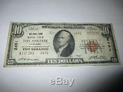 10 $ 1929 Los Angeles Californie Ca Note De La Banque Monétaire Nationale Bill! # 2491 Fine
