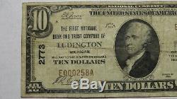 10 $ 1929 Ludington Michigan MI Banque Nationale Monnaie Note Bill Ch. # 2773 Fin