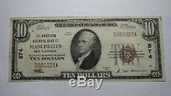 10 $ 1929 Manchester New Hampshire Nh Banque Nationale Monnaie Note Bill! Ch. # 574
