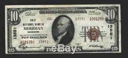 10 $ 1929 Meridian Mississippi Ms Banque Nationale Monnaie Note Ch. # 13551t2 Nt0093