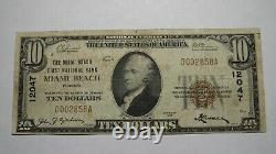 $10 1929 Miami Beach Floride Fl National Currency Bank Note Bill! Ch #12047 Amende