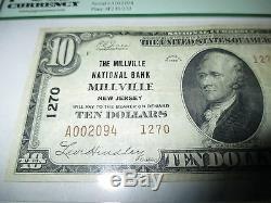 10 $ 1929 Millville New Jersey Nj Billet De Banque National Billet De Banque Bill # 1270 Vf! Pcgs