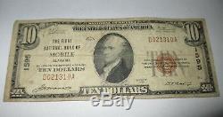 10 $ 1929 Mobile En Alabama Al Banque Nationale Monnaie Note Bill! Ch. # 1595 Rare