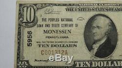 10 $ 1929 Monessen Pennsylvanie Pa Billets De Banque Nationaux, Billets De Banque Bill Ch # 5956 Fine