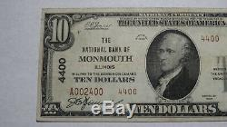 10 $ 1929 Monmouth Illinois IL Banque Nationale Monnaie Note Bill! Ch # 4400 Xf +