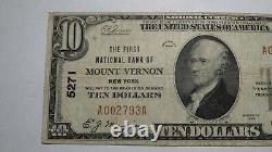 $10 1929 Mount Vernon New York Ny National Currency Bank Note Bill! #5271 Amende