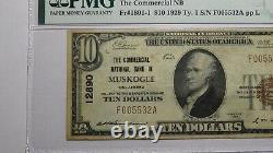 10 $ 1929 Muskogee Oklahoma Ok Monnaie Nationale Banque Note Bill! #12890 Vf35 Pmg