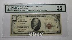 $10 1929 Napa California Ca National Currency Bank Note Bill! Ch. #7176 Vf25 Pmg
