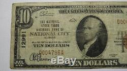 10 $ 1929 National City Illinois IL Banque Nationale Monnaie Remarque Le Projet De Loi # 12991 Fin