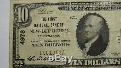 10 $ 1929 New Bethlehem En Pennsylvanie Pa Banque Nationale Monnaie Notez Le Projet De Loi # 4978