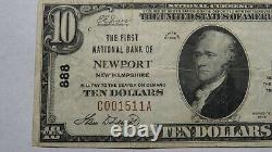 10 $ 1929 Newport New Hampshire Nh Banque Nationale Monnaie Note Bill! Ch. # 888 Vf