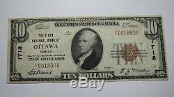 10 $ 1929 Ottawa Kansas Ks Banque Nationale Monnaie Note Bill! Ch. # 1718 Vf ++! Rare