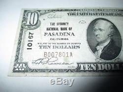 10 $ 1929 Pasadena Californie Ca Note De La Banque Nationale De Billets De Banque! Ch. # 10167 Vf