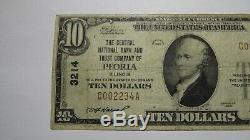 10 $ 1929 Peoria Illinois IL Banque Nationale Monnaie Note Bill! Ch. # 3214 Fin +