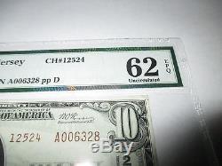 10 $ 1929 Perth Amboy New Jersey Nj Note De La Banque Nationale De Billets Bill N ° 12524 Unc62