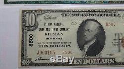 10 $ 1929 Pitman New Jersey Nj Banque Nationale Monnaie Note Bill! Ch. # 8500 Au55