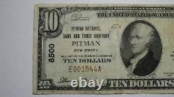 10 1929 Pitman New Jersey Nj Monnaie Nationale Banque Note Bill Ch. #8500 Rare